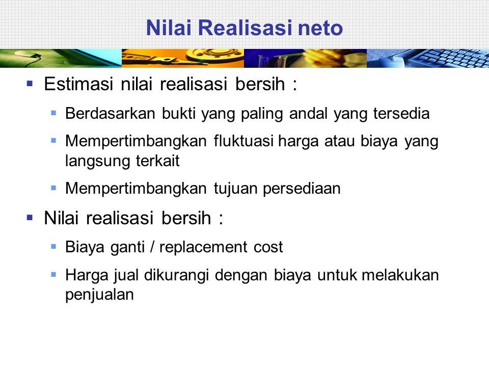 Nilai Realisasi neto  Estimasi nilai realisasi bersih :  Berdasarkan bukti yang paling andal yang tersedia  Mempertimbangkan fluktuasi harga atau b