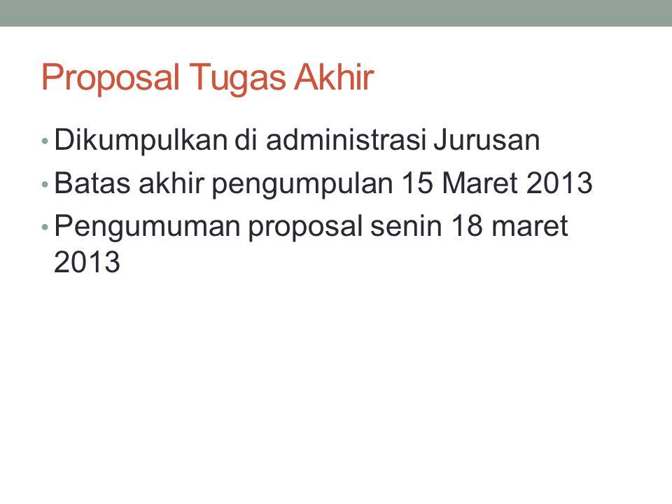 Proposal Tugas Akhir Dikumpulkan di administrasi Jurusan Batas akhir pengumpulan 15 Maret 2013 Pengumuman proposal senin 18 maret 2013