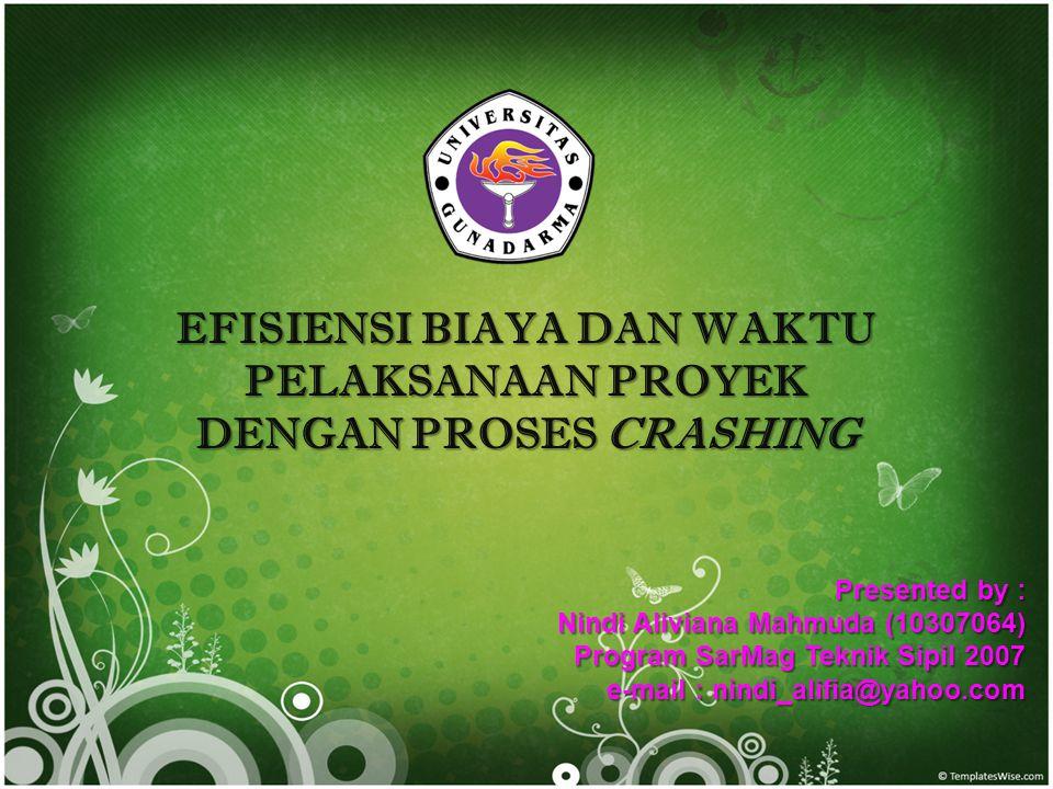 EFISIENSI BIAYA DAN WAKTU PELAKSANAAN PROYEK DENGAN PROSES CRASHING Presented by : Nindi Aliviana Mahmuda (10307064) Program SarMag Teknik Sipil 2007