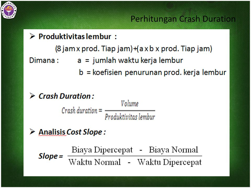 Perhitungan Crash Duration