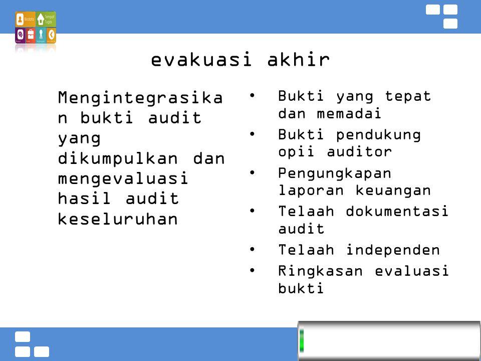 Kementerian Pendidikan dan Kebudayaan Badan PSDMPK dan PMP evakuasi akhir Mengintegrasika n bukti audit yang dikumpulkan dan mengevaluasi hasil audit