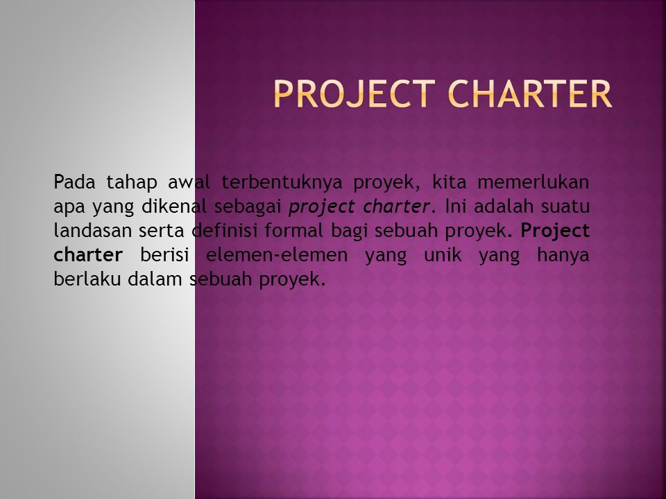 Pada tahap awal terbentuknya proyek, kita memerlukan apa yang dikenal sebagai project charter. Ini adalah suatu landasan serta definisi formal bagi se
