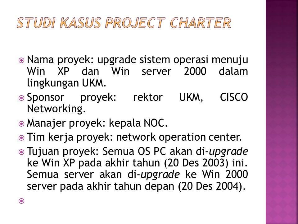  Nama proyek: upgrade sistem operasi menuju Win XP dan Win server 2000 dalam lingkungan UKM.  Sponsor proyek: rektor UKM, CISCO Networking.  Manaje