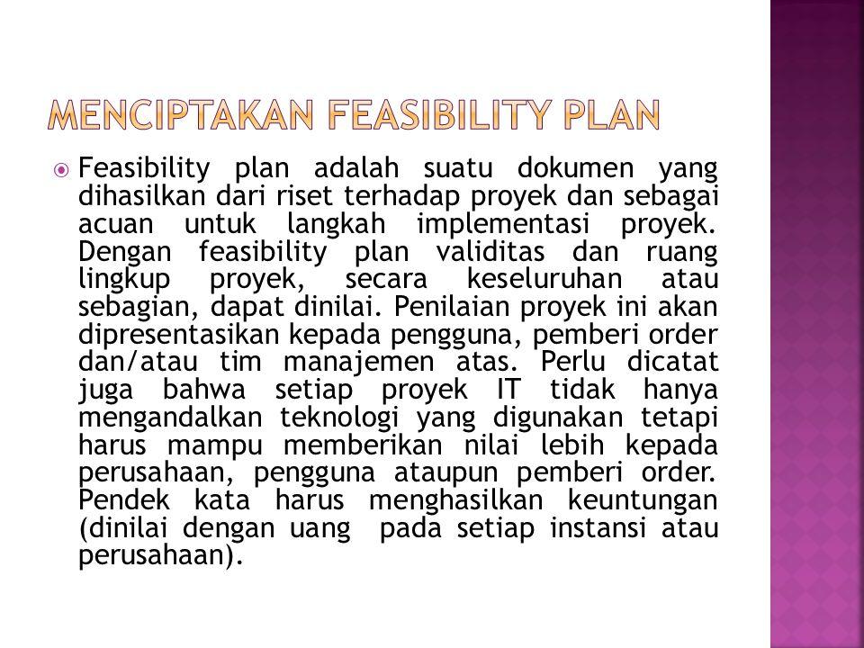  Feasibility plan adalah suatu dokumen yang dihasilkan dari riset terhadap proyek dan sebagai acuan untuk langkah implementasi proyek. Dengan feasibi
