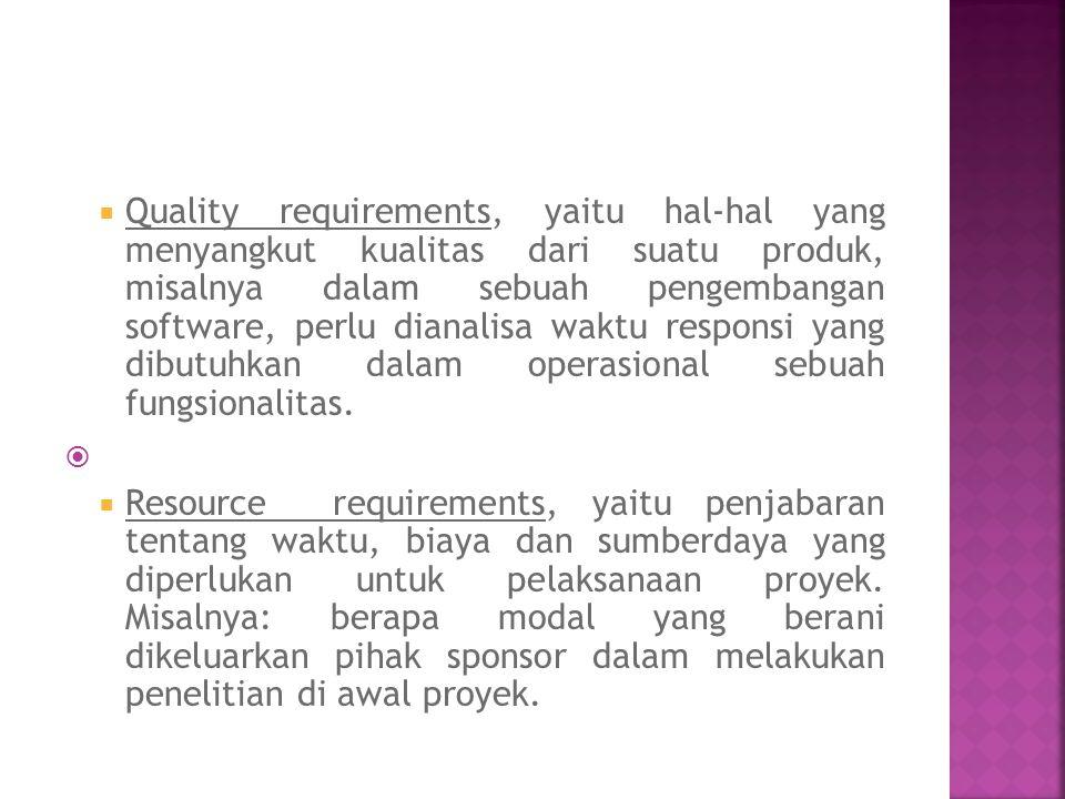  Quality requirements, yaitu hal-hal yang menyangkut kualitas dari suatu produk, misalnya dalam sebuah pengembangan software, perlu dianalisa waktu r