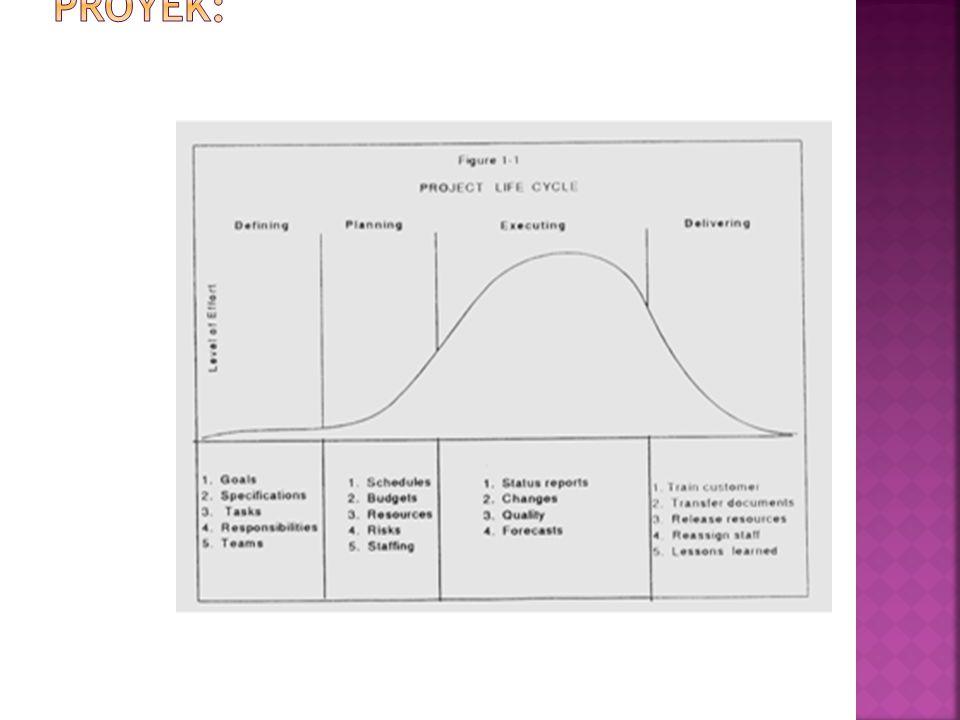 Sebuah siklus hidup proyek, memiliki sifat-sifat umum seperti di bawah ini:  Biaya dan pengalokasian SDM rendah pada awal proyek, tinggi pada saat eksekusi dan turun perlahan hingga akhir proyek.