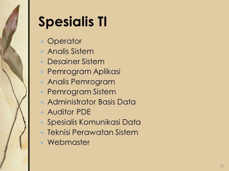 Spesialis TI Operator Analis Sistem Desainer Sistem Pemrogram Aplikasi Analis Pemrogram Pemrogram Sistem Administrator Basis Data Auditor PDE Spesialis Komunikasi Data Teknisi Perawatan Sistem Webmaster 18