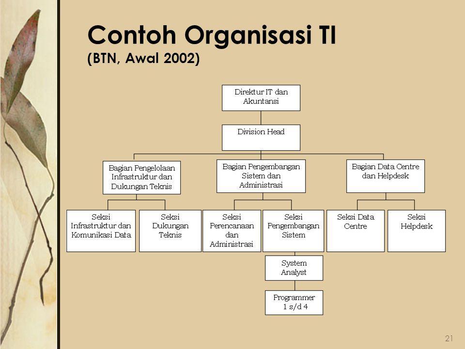 Contoh Organisasi TI (BTN, Awal 2002) 21
