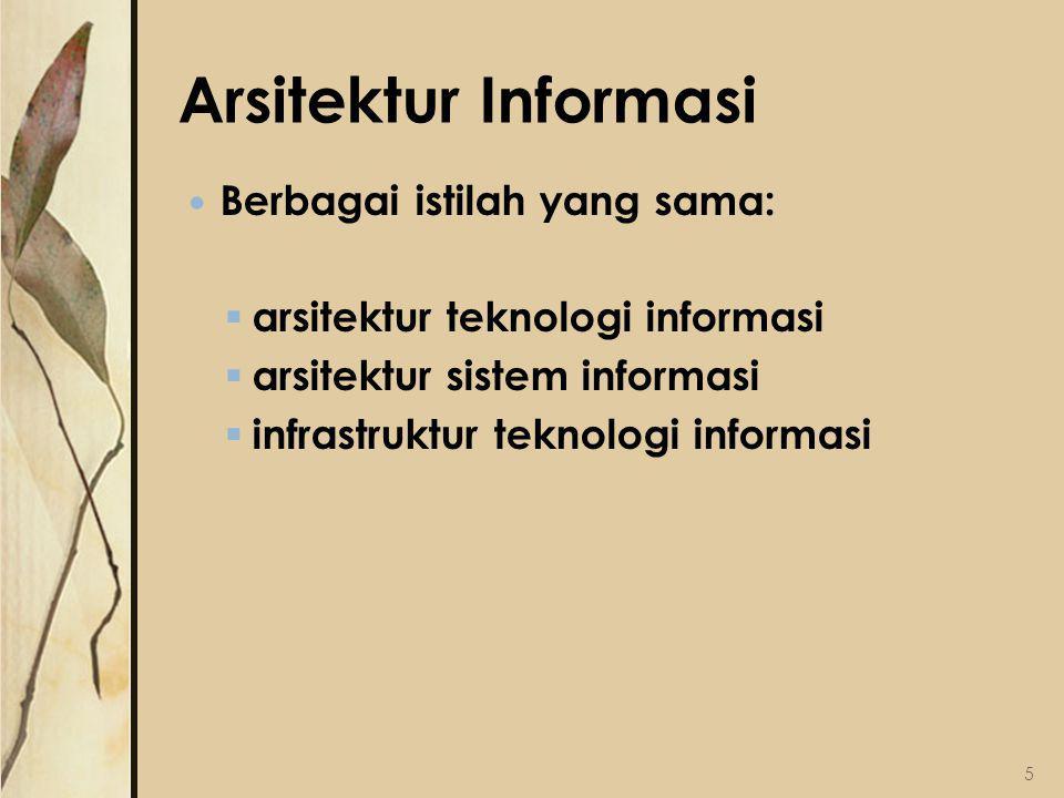 Arsitektur Informasi Berbagai istilah yang sama:  arsitektur teknologi informasi  arsitektur sistem informasi  infrastruktur teknologi informasi 5