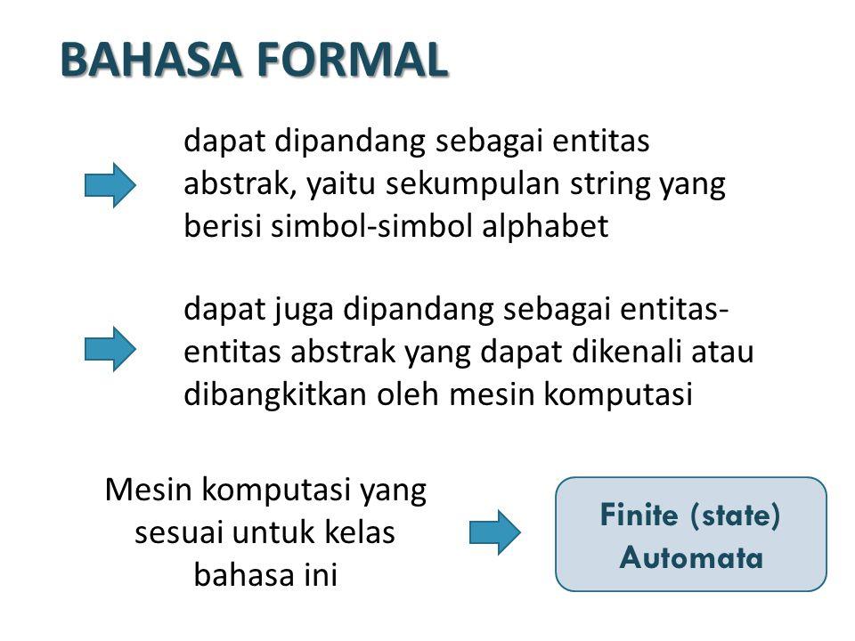 BAHASA FORMAL dapat dipandang sebagai entitas abstrak, yaitu sekumpulan string yang berisi simbol-simbol alphabet dapat juga dipandang sebagai entitas- entitas abstrak yang dapat dikenali atau dibangkitkan oleh mesin komputasi Mesin komputasi yang sesuai untuk kelas bahasa ini Finite (state) Automata