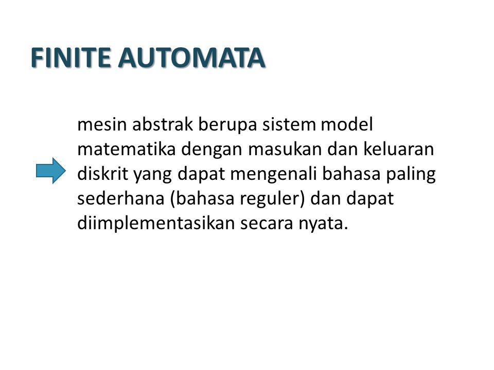 FINITE AUTOMATA model matematika yang dapat menerima input dan mengeluarkan output Memiliki state yang berhingga banyaknya dan dapat berpindah dari satu state ke state lainnya berdasar input dan fungsi transisi Tidak memiliki tempat penyimpanan/memory, hanya bisa mengingat state terkini.