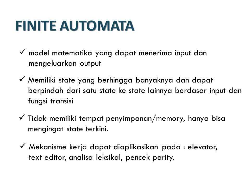 Non-deterministic Finite Automata (NFA) Perbedaan dengan DFA: fungsi transisi dapat memiliki 0 atau lebih fungsi transisi untuk setiap simbol inputan Untuk NFA harus dicoba semua kemungkinan yang ada sampai terdapat satu yang mencapai state akhir.