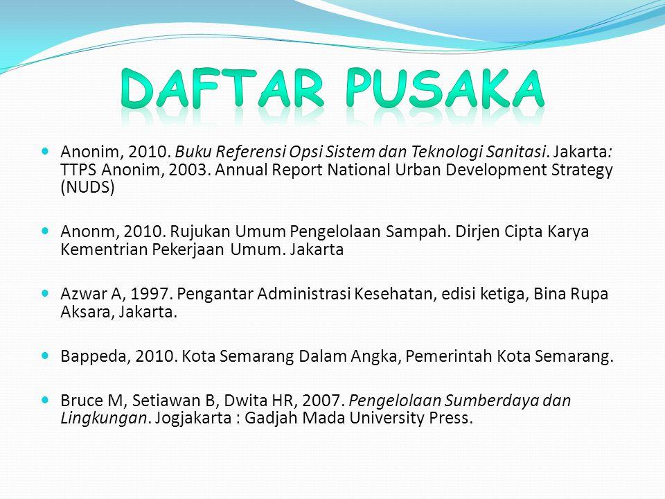 Anonim, 2010. Buku Referensi Opsi Sistem dan Teknologi Sanitasi. Jakarta: TTPS Anonim, 2003. Annual Report National Urban Development Strategy (NUDS)