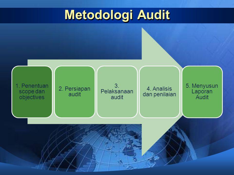 Metodologi Audit 1. Penentuan scope dan objectives 2. Persiapan audit 3. Pelaksanaan audit 4. Analisis dan penilaian 5. Menyusun Laporan Audit