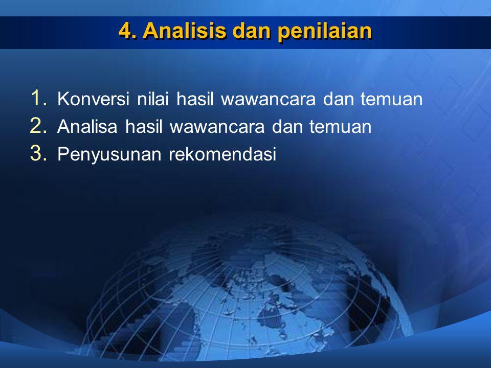 4. Analisis dan penilaian 1. Konversi nilai hasil wawancara dan temuan 2. Analisa hasil wawancara dan temuan 3. Penyusunan rekomendasi