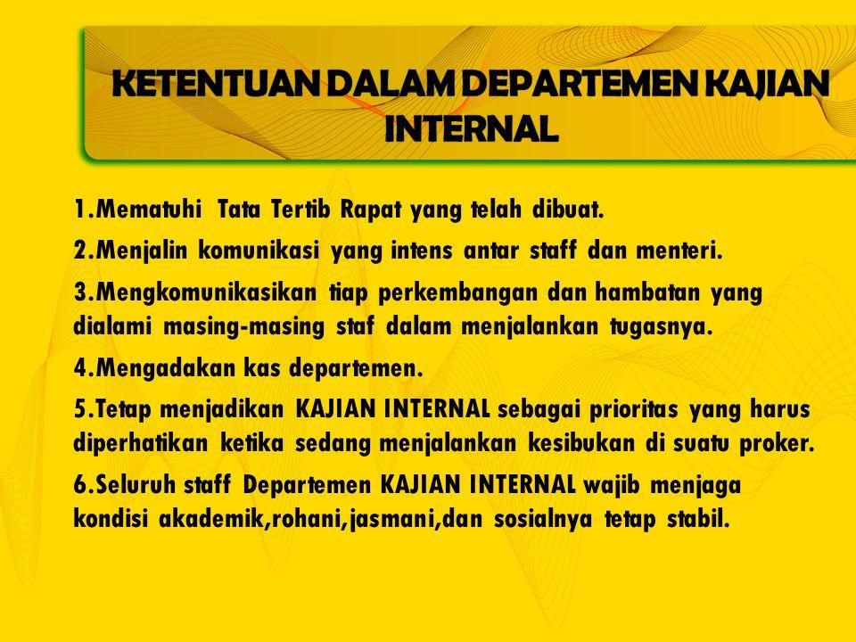 1.Mematuhi Tata Tertib Rapat yang telah dibuat.