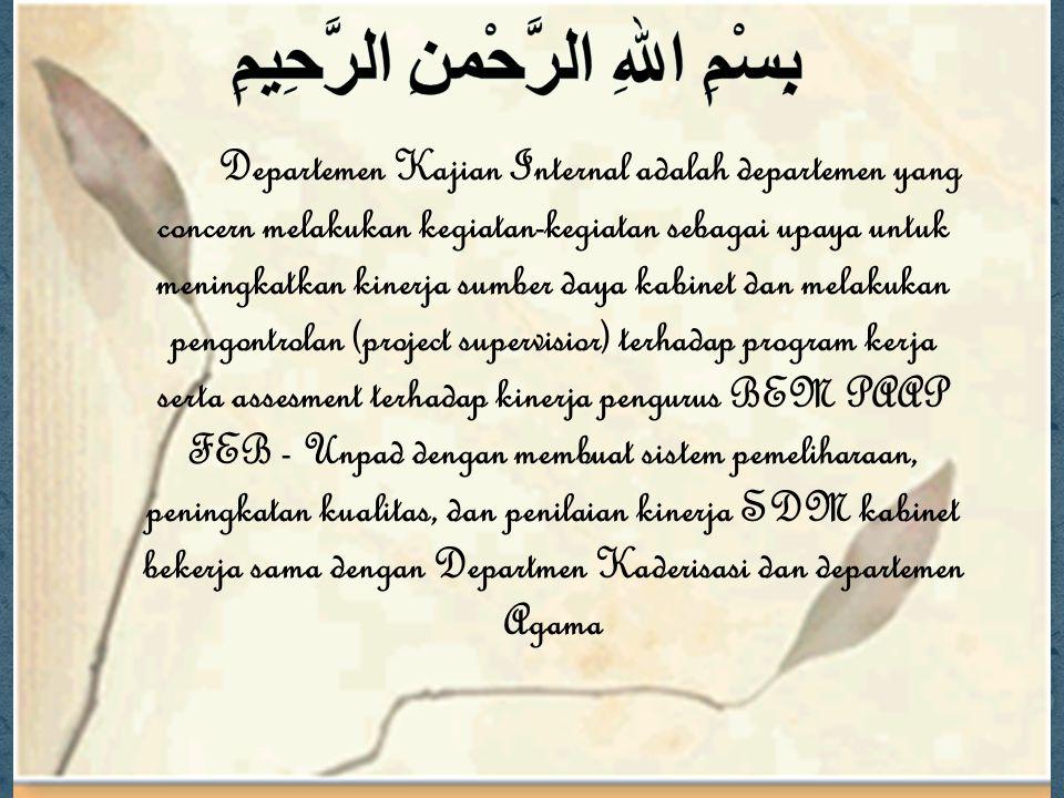 Departemen Kajian Internal adalah departemen yang concern melakukan kegiatan-kegiatan sebagai upaya untuk meningkatkan kinerja sumber daya kabinet dan