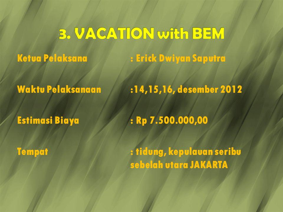 Ketua Pelaksana: Erick Dwiyan Saputra Waktu Pelaksanaan:14,15,16, desember 2012 Estimasi Biaya: Rp 7.500.000,00 Tempat: tidung, kepulauan seribu sebel