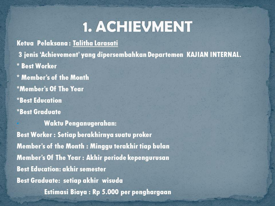 Ketua Pelaksana : Talitha Larasati 3 jenis 'Achievement' yang dipersembahkan Departemen KAJIAN INTERNAL. * Best Worker * Member's of the Month *Member
