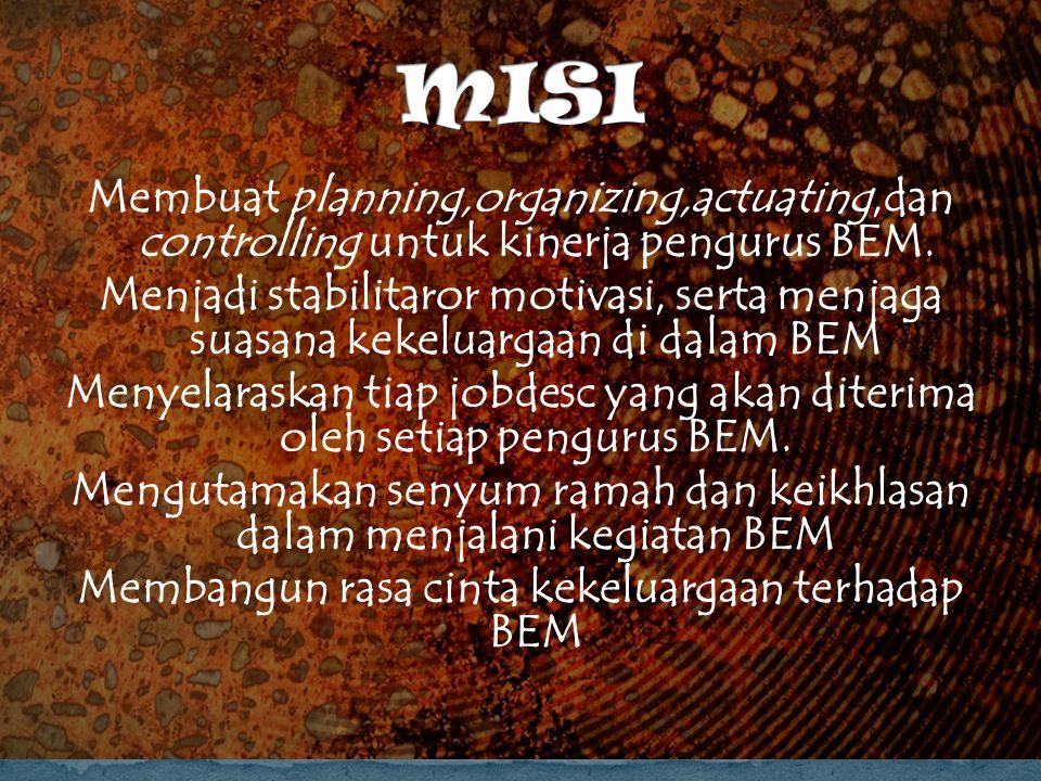 Membuat planning,organizing,actuating,dan controlling untuk kinerja pengurus BEM.