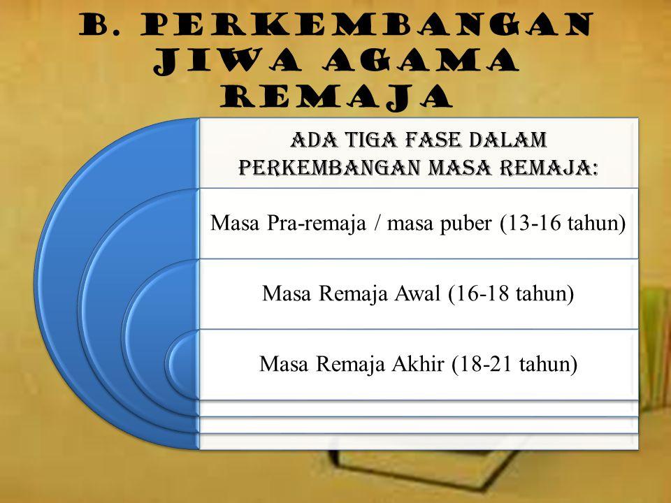 B. Perkembangan Jiwa Agama Remaja Ada tiga fase dalam perkembangan masa remaja: Masa Pra-remaja / masa puber (13-16 tahun) Masa Remaja Awal (16-18 tah