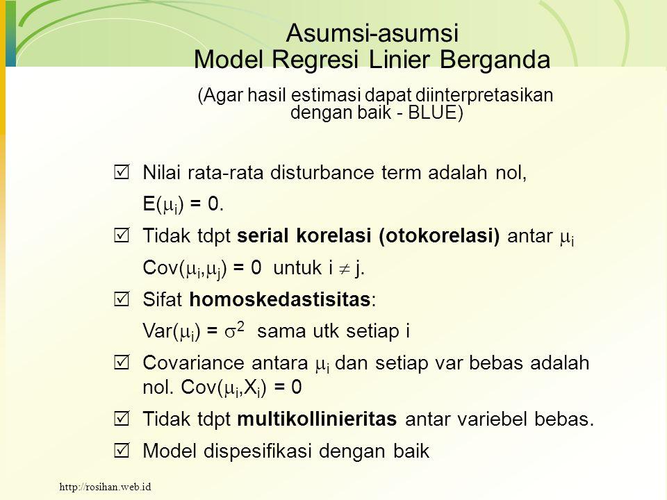 Asumsi-asumsi Model Regresi Linier Berganda  Nilai rata-rata disturbance term adalah nol, E(  i ) = 0.  Tidak tdpt serial korelasi (otokorelasi) an