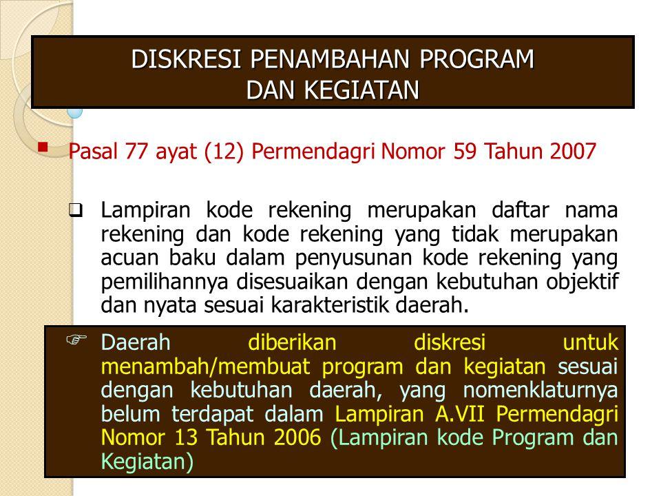 DISKRESI PENAMBAHAN PROGRAM DAN KEGIATAN  Pasal 77 ayat (12) Permendagri Nomor 59 Tahun 2007  Lampiran kode rekening merupakan daftar nama rekening