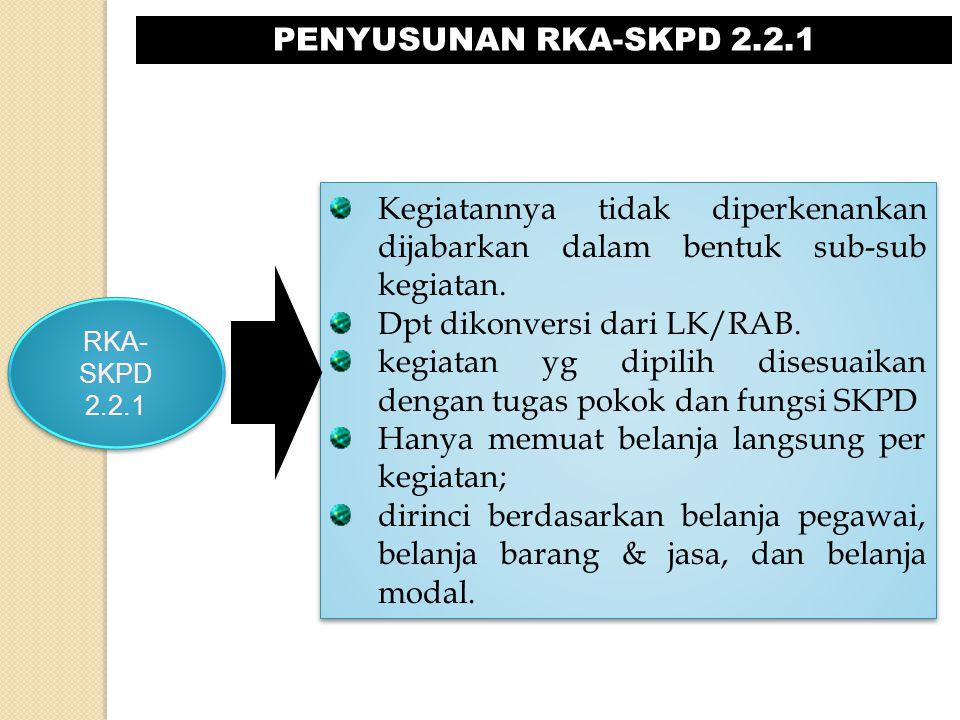 PENYUSUNAN RKA-SKPD 2.2.1 RKA- SKPD 2.2.1 RKA- SKPD 2.2.1 Kegiatannya tidak diperkenankan dijabarkan dalam bentuk sub-sub kegiatan. Dpt dikonversi dar