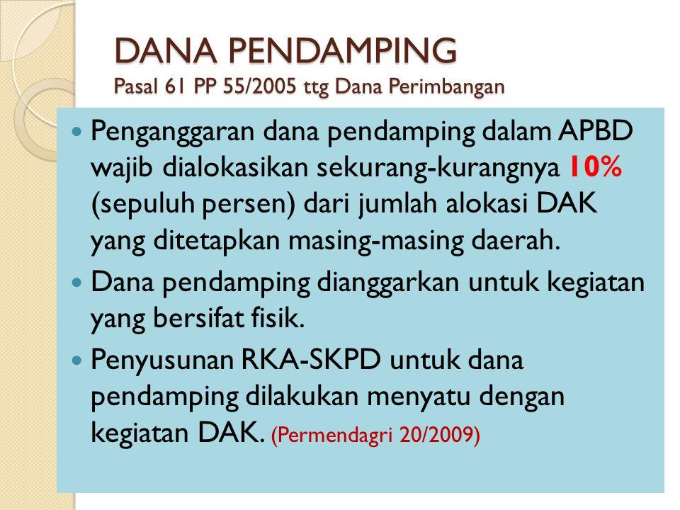 DANA PENDAMPING Pasal 61 PP 55/2005 ttg Dana Perimbangan Penganggaran dana pendamping dalam APBD wajib dialokasikan sekurang-kurangnya 10% (sepuluh pe