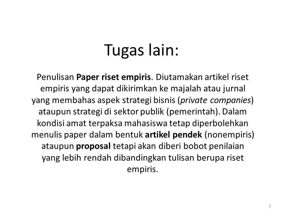 Tugas lain: Penulisan Paper riset empiris.