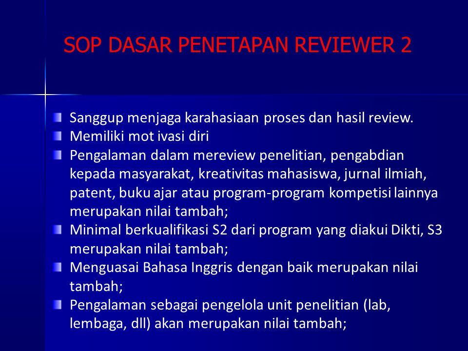 SOP DASAR PENETAPAN REVIEWER 2 Sanggup menjaga karahasiaan proses dan hasil review. Memiliki mot ivasi diri Pengalaman dalam mereview penelitian, peng