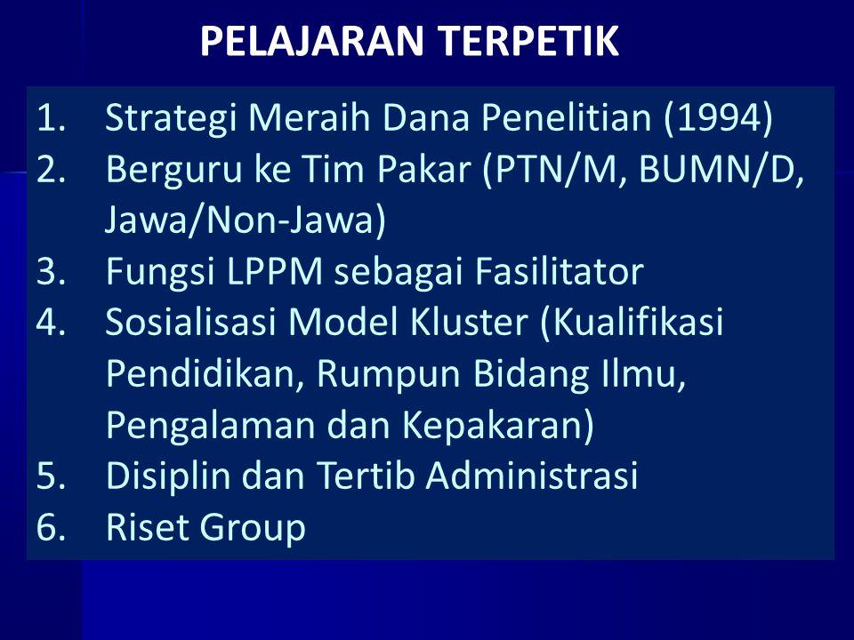 PELAJARAN TERPETIK 1.Strategi Meraih Dana Penelitian (1994) 2.Berguru ke Tim Pakar (PTN/M, BUMN/D, Jawa/Non-Jawa) 3.Fungsi LPPM sebagai Fasilitator 4.