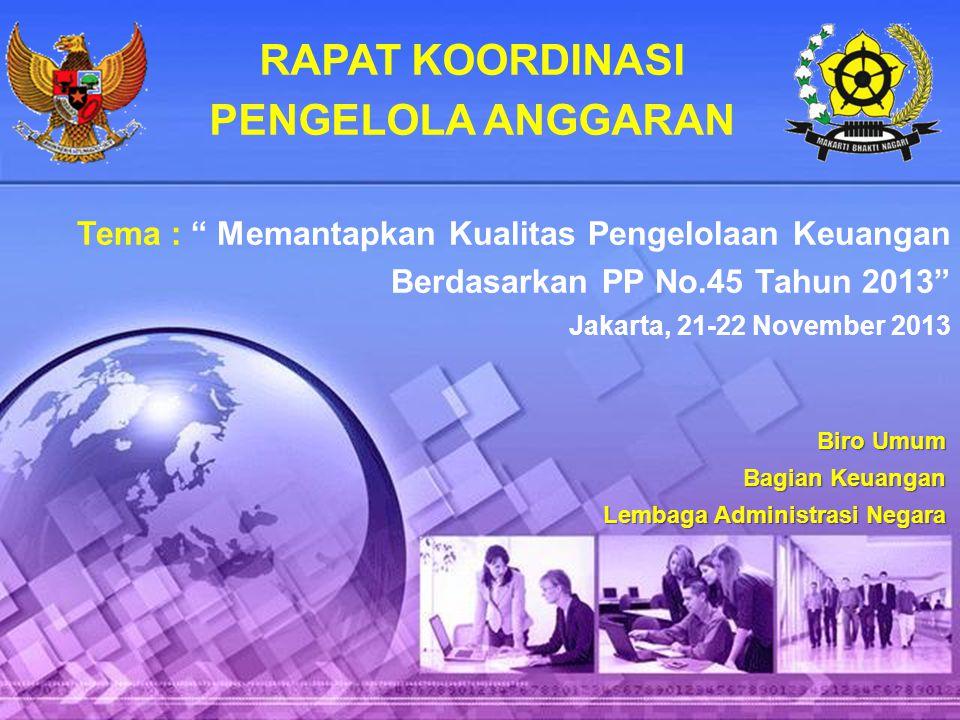 """RAPAT KOORDINASI PENGELOLA ANGGARAN Tema : """" Memantapkan Kualitas Pengelolaan Keuangan Berdasarkan PP No.45 Tahun 2013"""" Jakarta, 21-22 November 2013 B"""