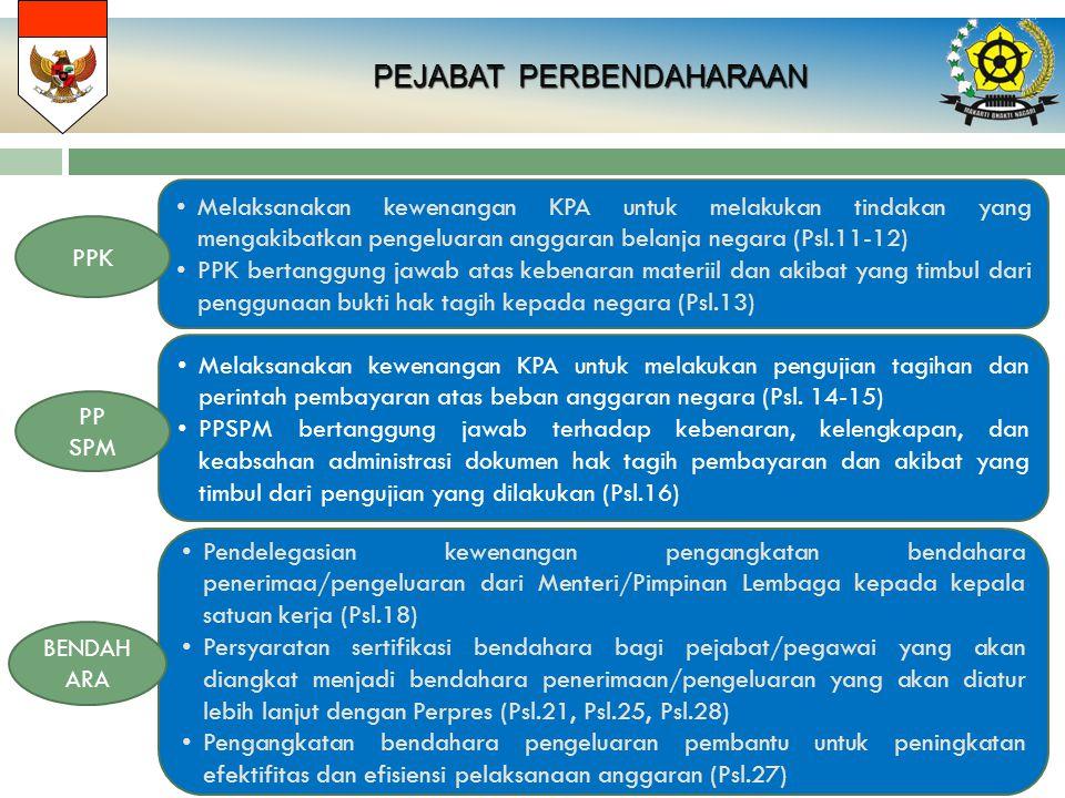 PEJABAT PERBENDAHARAAN PEJABAT PERBENDAHARAAN Melaksanakan kewenangan KPA untuk melakukan tindakan yang mengakibatkan pengeluaran anggaran belanja negara (Psl.11-12) PPK bertanggung jawab atas kebenaran materiil dan akibat yang timbul dari penggunaan bukti hak tagih kepada negara (Psl.13) PPK Melaksanakan kewenangan KPA untuk melakukan pengujian tagihan dan perintah pembayaran atas beban anggaran negara (Psl.