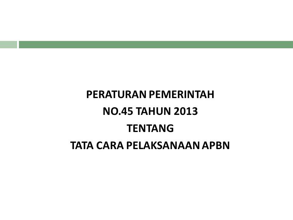 PERATURAN PEMERINTAH NO.45 TAHUN 2013 TENTANG TATA CARA PELAKSANAAN APBN