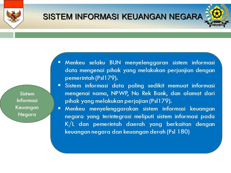 SISTEM INFORMASI KEUANGAN NEGARA  Menkeu selaku BUN menyelenggaran sistem informasi data mengenai pihak yang melakukan perjanjian dengan pemerintah (
