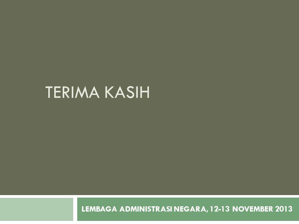 TERIMA KASIH LEMBAGA ADMINISTRASI NEGARA, 12-13 NOVEMBER 2013
