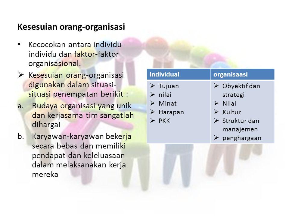 Kinerja pekerjaan, kriteria penyeleksian, dan prediktor Elemen-elemen Kinerja pekerjaan:  Kuantitas kerja  Kualitas kerja  Kompabilitas dg orang-orang lain  Kehadiran ditempat kerja  Lamanya pelayanan  fleksibilitas Kriteria Penyeleksian untuk para karyawan yang memenuhi elemen-elemen kerja :  Kemampuan  Motivasi  Kecerdasan  Sifat berhati-hati  Resiko yg pantas untuk pemberi kerja  Ketetapan yg sesuai Pemrediksi-prediktor kriteria penyeleksian:  Pengalaman  Kinerja dimasalalu  Ketrampilan fisik  Pendidikan  Minat  Persyaratan gaji  Sertifikat/gelar  Nilai-nilai test  Ukuran kepribadian  Referensi kerja  Masa jabatah pada pekerjaan sebelumnya  Test penggunaan narkoba  Surat kelakuan baik dari kepolisian