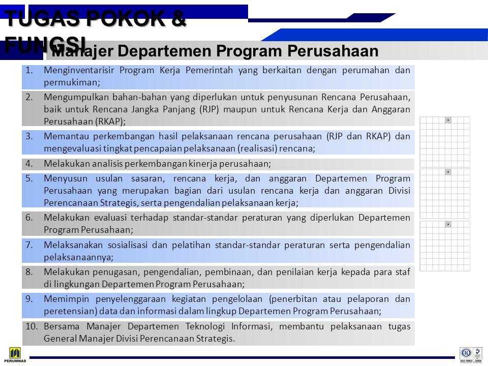 TUGAS POKOK & FUNGSI Manajer Departemen Program Perusahaan 1.Menginventarisir Program Kerja Pemerintah yang berkaitan dengan perumahan dan permukiman;