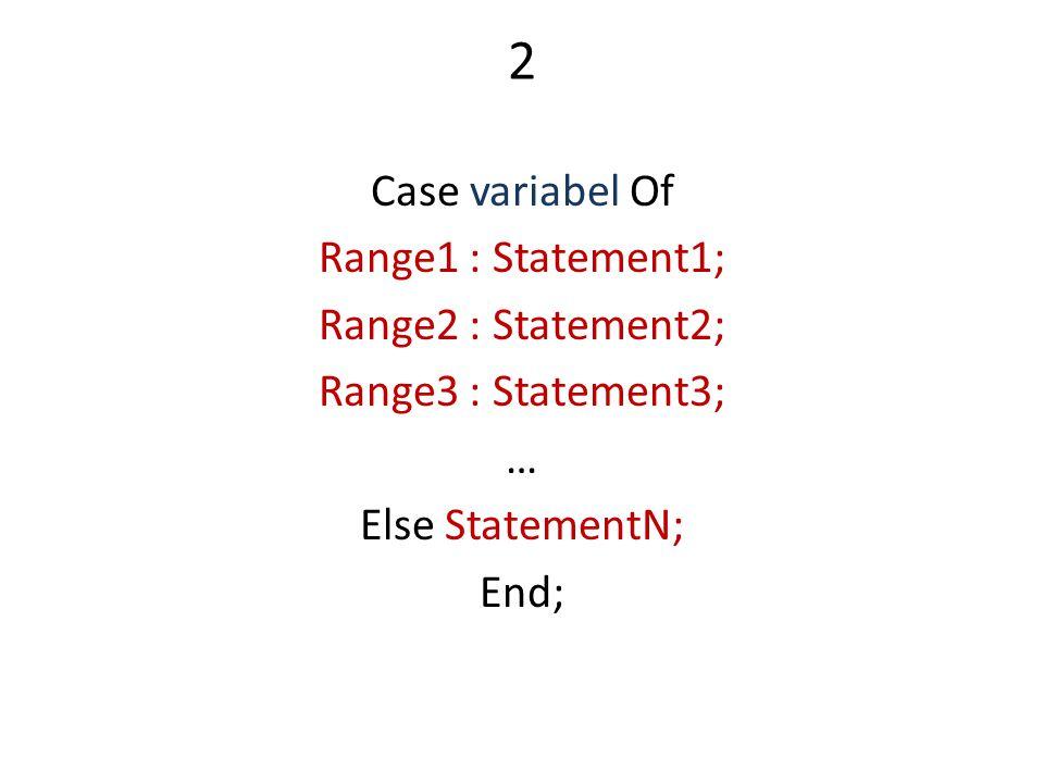 2 Case variabel Of Range1 : Statement1; Range2 : Statement2; Range3 : Statement3; … Else StatementN; End;