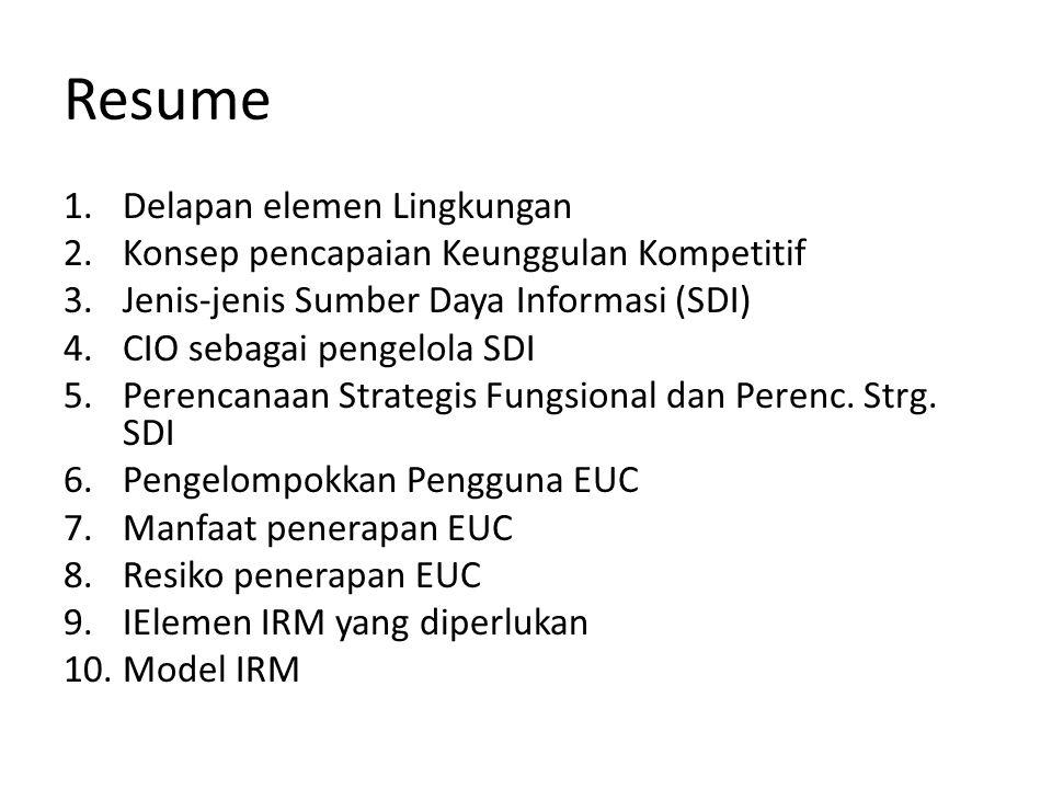 Resume 1.Delapan elemen Lingkungan 2.Konsep pencapaian Keunggulan Kompetitif 3.Jenis-jenis Sumber Daya Informasi (SDI) 4.CIO sebagai pengelola SDI 5.Perencanaan Strategis Fungsional dan Perenc.