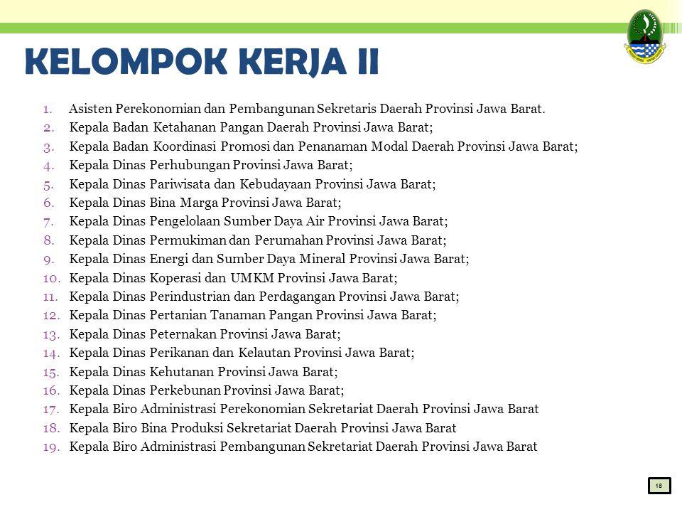 KELOMPOK KERJA II 1.Asisten Perekonomian dan Pembangunan Sekretaris Daerah Provinsi Jawa Barat. 2.Kepala Badan Ketahanan Pangan Daerah Provinsi Jawa B