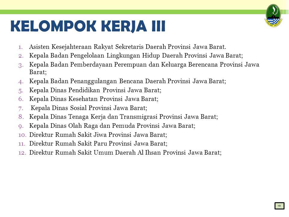 KELOMPOK KERJA III 1.Asisten Kesejahteraan Rakyat Sekretaris Daerah Provinsi Jawa Barat. 2.Kepala Badan Pengelolaan Lingkungan Hidup Daerah Provinsi J