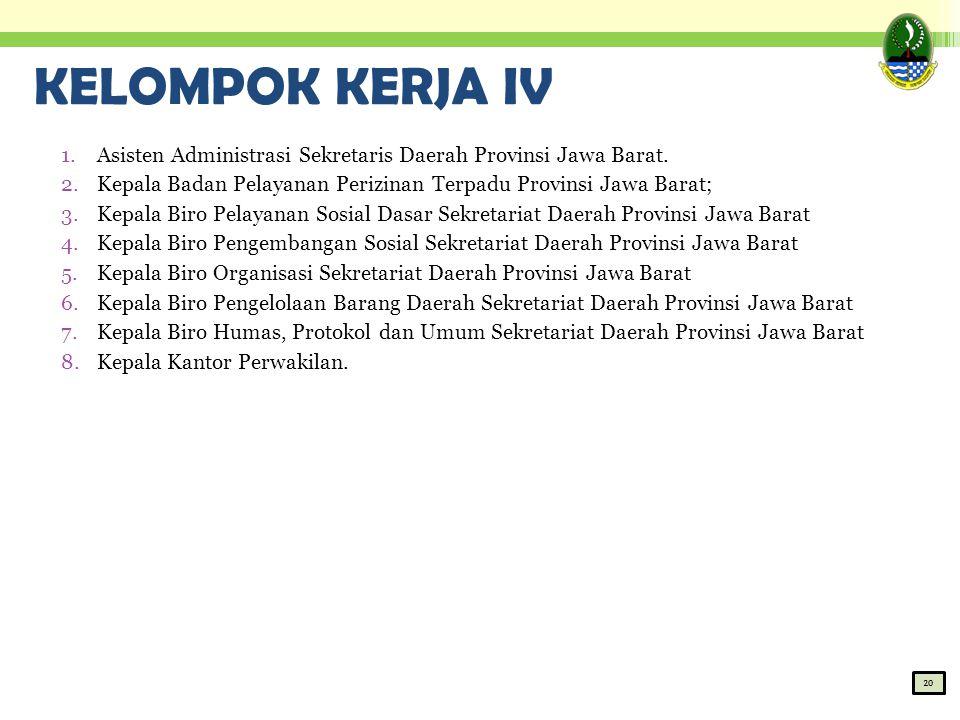 KELOMPOK KERJA IV 1.Asisten Administrasi Sekretaris Daerah Provinsi Jawa Barat. 2.Kepala Badan Pelayanan Perizinan Terpadu Provinsi Jawa Barat; 3.Kepa