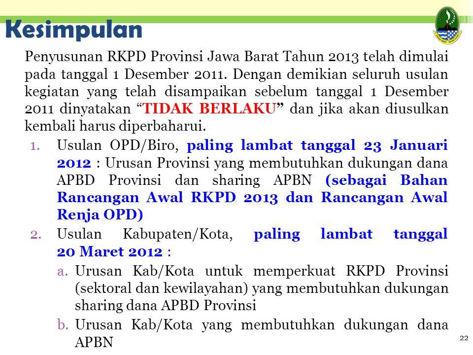 Kesimpulan Penyusunan RKPD Provinsi Jawa Barat Tahun 2013 telah dimulai pada tanggal 1 Desember 2011. Dengan demikian seluruh usulan kegiatan yang tel