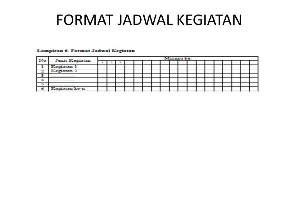FORMAT JADWAL KEGIATAN