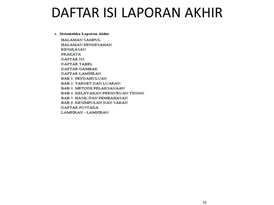 DAFTAR ISI LAPORAN AKHIR