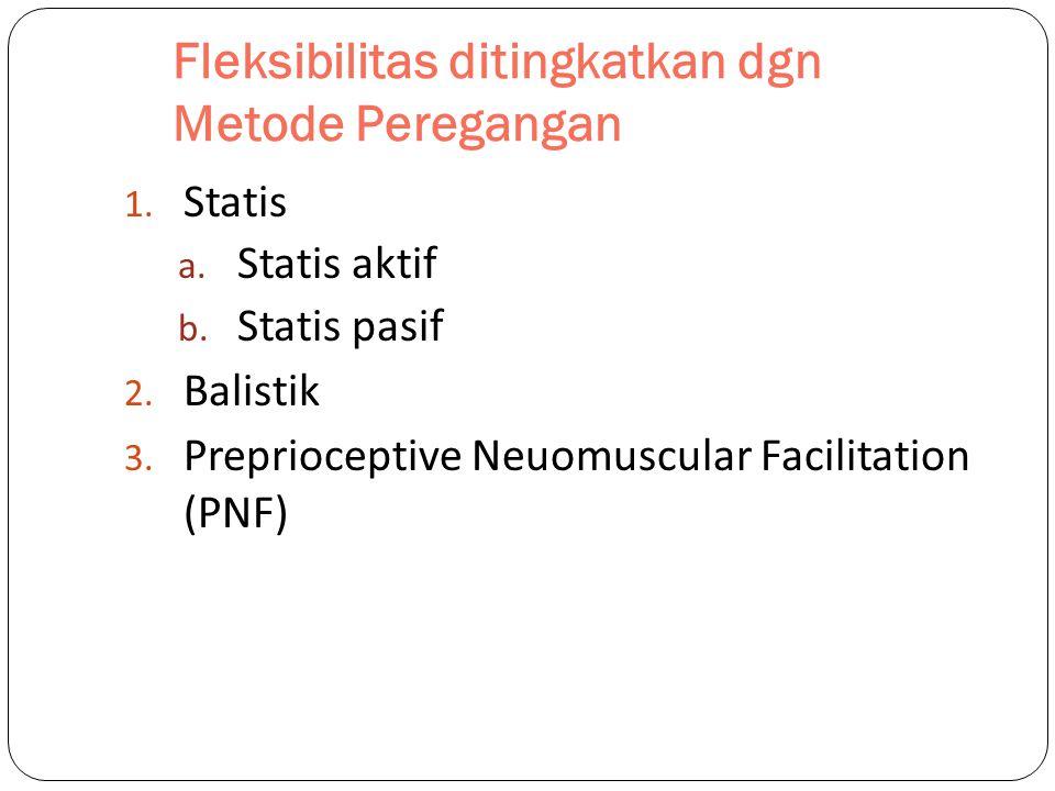 Fleksibilitas ditingkatkan dgn Metode Peregangan 1. Statis a. Statis aktif b. Statis pasif 2. Balistik 3. Preprioceptive Neuomuscular Facilitation (PN