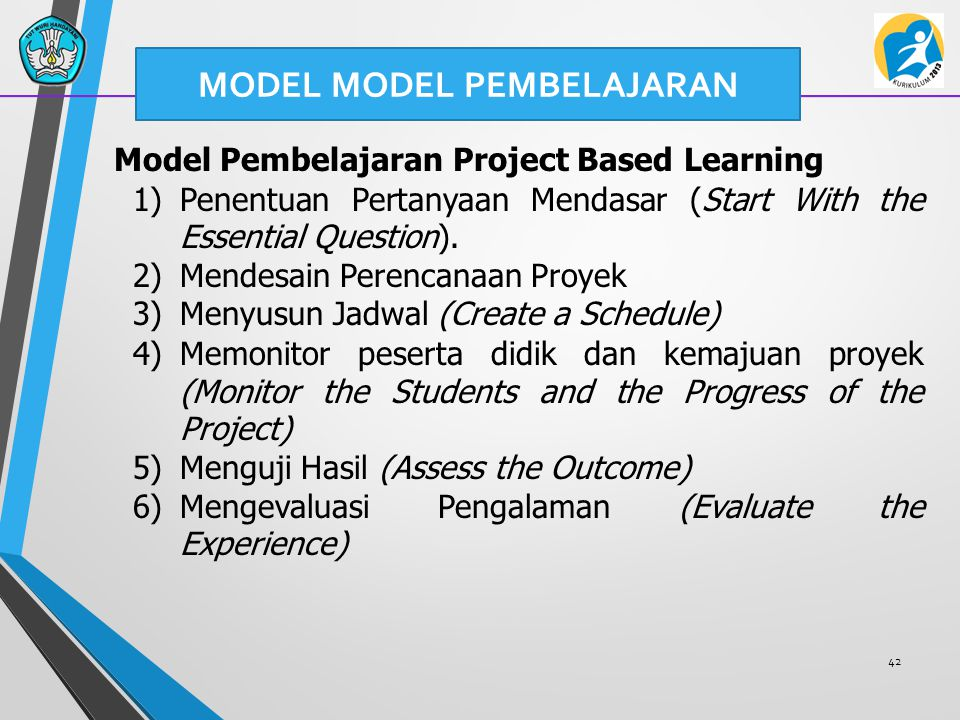 42 Model Pembelajaran Project Based Learning 1)Penentuan Pertanyaan Mendasar (Start With the Essential Question). 2)Mendesain Perencanaan Proyek 3)Men