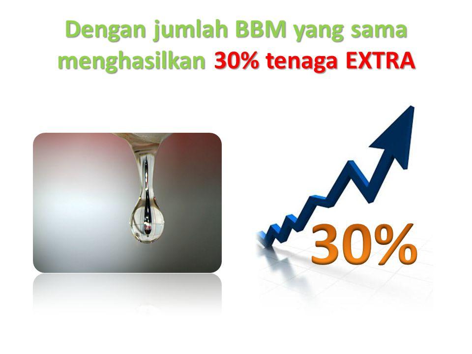 Dengan jumlah BBM yang sama menghasilkan 30% tenaga EXTRA